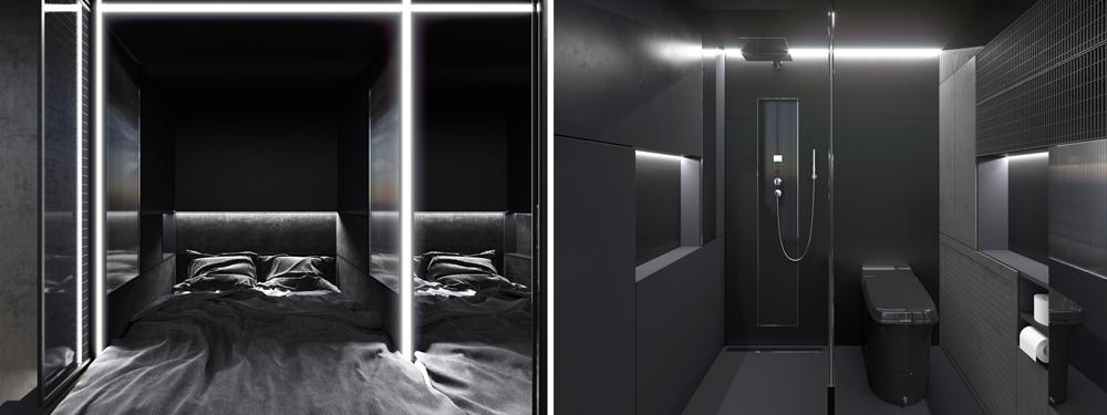 Baño y dormitorio District Hive
